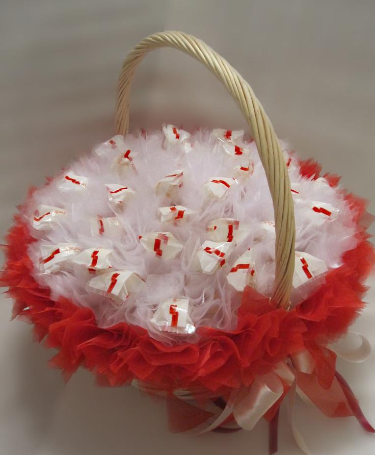 Как сделать основу для букета из конфет в корзине