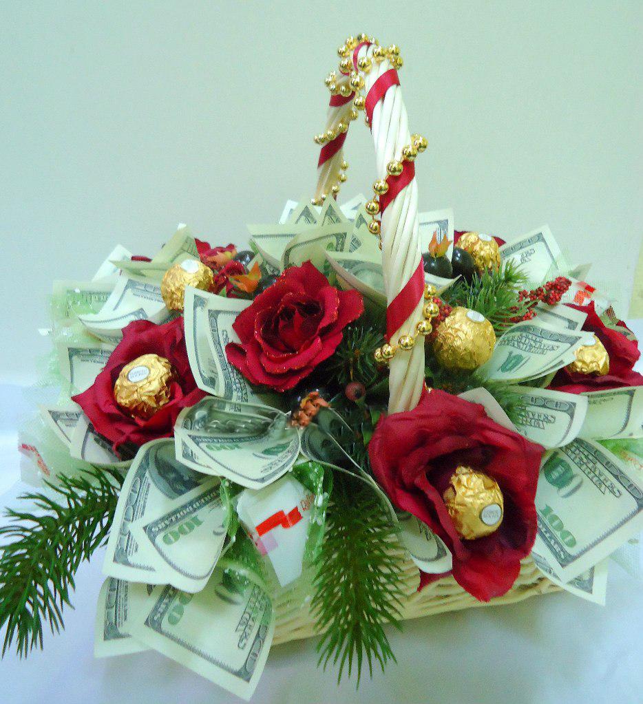 Оформление букет на новый год из конфетки, букет роз